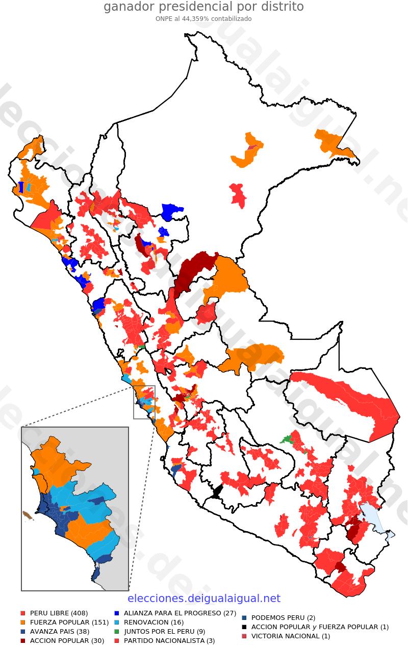Onpe al 44 % (distritos)